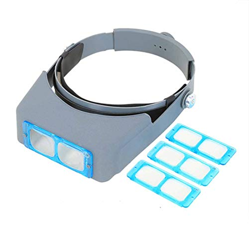 MUYU Kop-gemonteerde vergrootglas 4 vervangbare lenzen Lezen Loupe Glas Bril vergrootglas kan worden gebruikt om sieraden diamant reparatie bestuderen