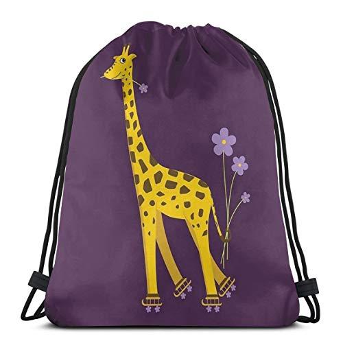 Paars Cartoon Grappige Giraffe Roller Schaatsen Trekkoord Rugzak Tas Trekkoord Tas Sling Bag Sporttas, Geschikt voor School Gym Trip