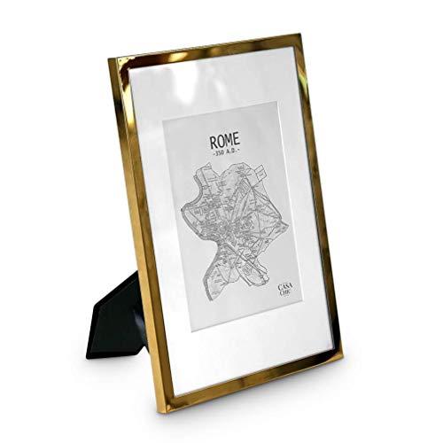 Elegance by Casa Chic Bilderrahmen Gold - Mit Passepartout für 20x15 cm Foto - Front aus Glas - 1,5 cm Rahmenbreite - Vergoldet