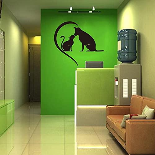 Gatos y perros, calcomanías de vinilo para mascotas, decoración del hogar, papel tapiz extraíble, arte, decoración de la casa para niños, pegatinas A5 30x33cm