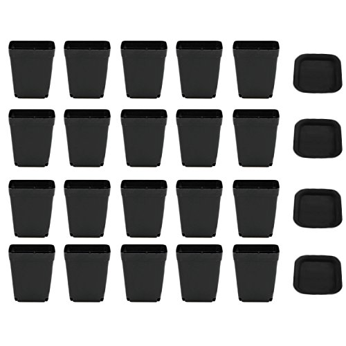 Gosear Pots de Semis, 20 Pack Pot de Plante Carré en Plastique Plantes Grasses Jardinière Pot avec Soucoupe Plateau Pot Jardinage pour la Maison de Jardin Décoration de Bureau Noir