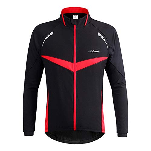 GRTE Mens Cycling Clothes Jersey Long Sleeve Cycle Top Spring Autumn Jacket Waterproofing Windbreak Lightweight MTB Mountain Bike Racing,Red,M