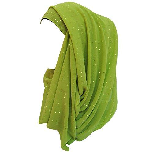 Lina & Lily Lina & Lily Damen Muslim Hijab Kopftuch Schal Glitzer Chiffon (Lime)