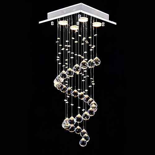 Lightess Kristall Kronleuchter Modern LED Hängend Deckenleuchte Pendelleuchte 4XGU10 Rain Drop Beleuchtung für Küche Flur Wohnzimmer Schlafzimmer.