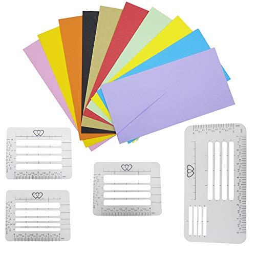 Velidy Briefumschlag-Schablonen für Briefe, Brief-Schablonen zum Basteln von Umschlägen, Nähen, Scrapbooking, 4 Stück
