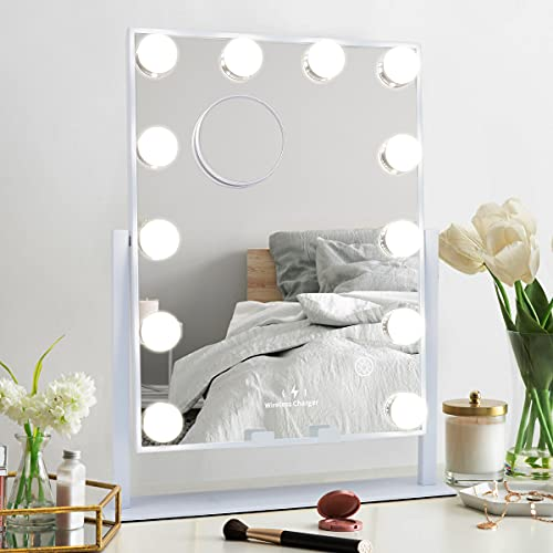 MISAVANITY Hollywood Vanity Makeup Mirror with Lights, Large Vanity Mirror with Wireless Charger and 10X Magnification, Beauty Cosmetic Mirror with 12pcs Dimmable LED Bulbs for Tabletop Dressing Room