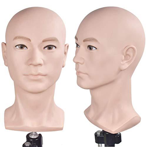Übungskopf für Kosmetologie, professioneller Kahlkopf, für Perücken und Ausstellungen, Puppenkopf mit Tischklemme im Lieferumfang enthalten