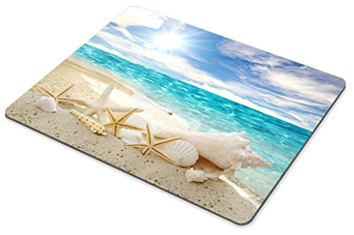 Smooffly Gaming Mouse Pad Custom,Seashells Starfishes Beach Seascape Thick Rubber Mousepad 9.5 X 7.9 Inch (240mmX200mmX3mm) Photo #2
