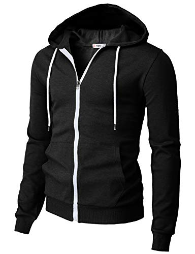H2H Mens Casual Basic Long Sleeve Zip Up Hoodie Jacket Black US L/Asia XL (CMOHOL048)