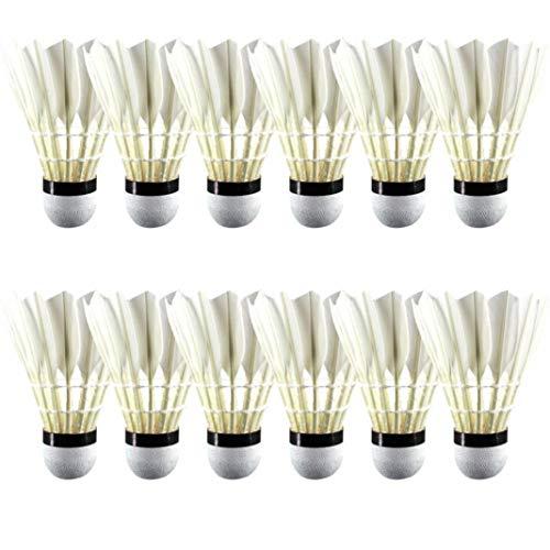 YSHTAN Federbälle, Sport-Reparatur-Werkzeug, 12 Stück, strapazierfähig, Kunstfedern, Fliegen stabil Federbälle A+60E Badmintonbälle
