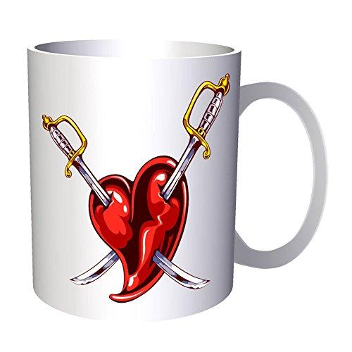 Espadas rojas del corazón 330 ml taza u391