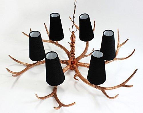 Voss Design XXXL Kronleuchter Geweih 150cm Kupfer Schirme Geweihlampe AST Lampe Deckenleuchte