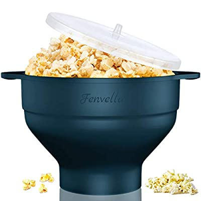 Microwave Silicone Popcorn Popper, Fenvella Collapsible Hot Air Microwavable Popcorn Maker BPA Free & Dishwasher Safe, Popcorn Bowl with Lid & Handle for Home Party (Dark Green)