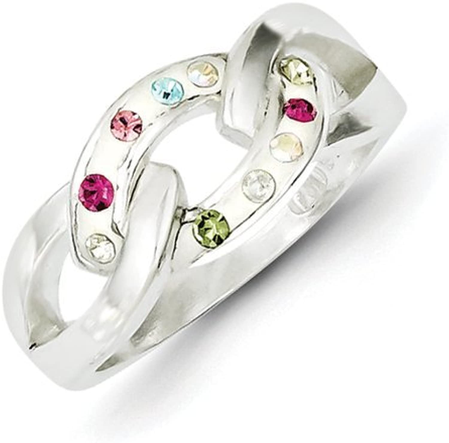 gold and Watches Sterling Silver Stellux Multicolor Crystal White Ring