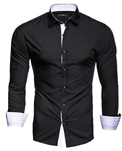 Kayhan Herren Hemd, TwoFace Schwarz XL