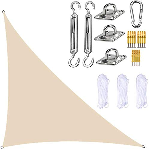 LINFKY Toldo Velas De Sombra, con Kits De Fijación Toldo Triangular para Toldo Anti-UV Impermeable, para Patio, Jardín, Actividades Al Aire Libre (3x4x5m,Beige)