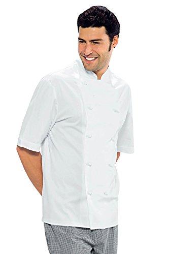 Isacco - Chaqueta de cocina clásica, color blanco, XL, 100% algodón, media manga, botones antipánico - Tejido 190 gr/m2