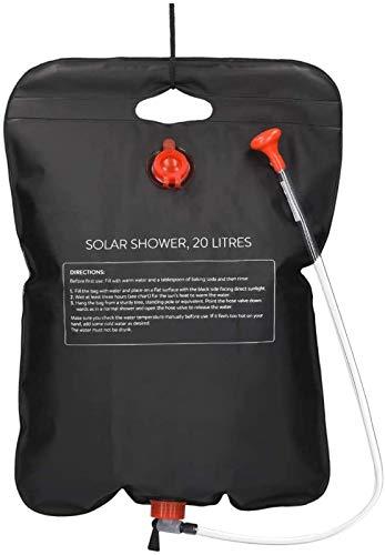 ZKHD Bolsa de Ducha Solar 20L Bolsa de Ducha de Camping con Calefacción Solar con Cabezal de Ducha Cabezal de Grifo de Tubería para Un Viaje Ideal
