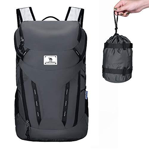 CAMEL CROWN Wanderrucksack Faltbarer Ultraleicht, 40L Multifunktions Reiserucksack Wandern Daypack Dauerhaft Kompakt Tagesrucksack für Klettern Camping Casual Radfahren Reisen Outdoor Sport