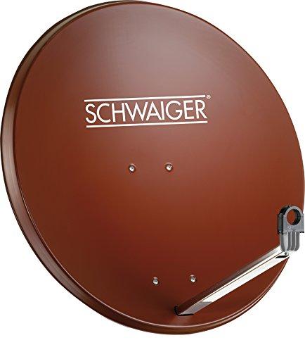 SCHWAIGER -203- Satellitenschüssel, Sat Antenne mit LNB Tragarm und Masthalterung, Sat-Schüssel aus Aluminium, 75 x 85 cm