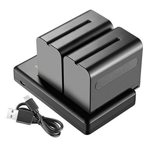 Neewer 2-Paquete 6600mAh Li-ion Batería de Repuesto con Cargador USB para Sony NP-F550 570 750 770 970 960 975,Sony Handycams,NW CN160 CN-216 LED,NW 759 74K 760 Feelworld,759 74K 760 Monitor de Campo