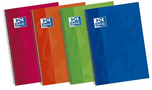 Oxford Classic 400043979 Cuadernos espiral de tapa extradura, 80 Hojas, Formato A5, Colores surtidos, Paquete de 5