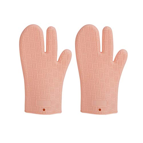 Oven Gloves Heat Resistant Degrees for Women Oven Gloves Anti-scald High Temperature Hand Clip Household Baking Microwave Oven Insulation Silicone Gloves Home bakery catering shop (Color : A)