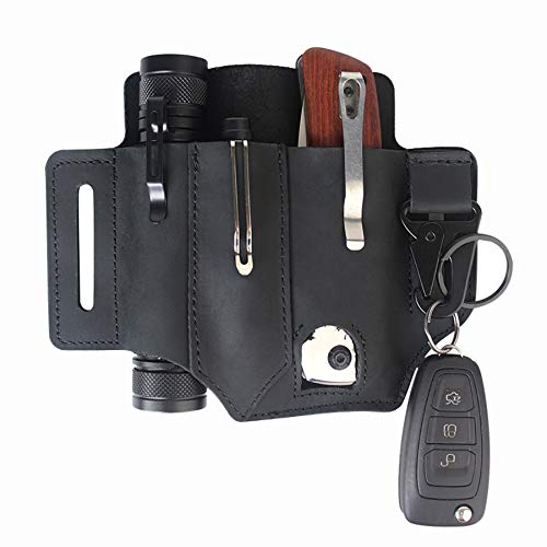 Pocket Organizer Pouch EDC Leather Sheath for Belt for 5 inch Knives Tactical Flashlights Key Fob Tools Black