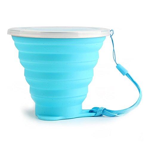 JINSANSHUN 270ml Klappbecher Ultradünn Faltbecher Tragbare Kaffeebecher Camping Trinkbecher Zusammenfaltbare Zahnputzbecher Travel Mug Silikon Retractable Becher Bruchfest Tasse - Blau