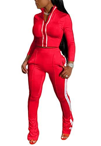 Women Sexy Tracksuit 2 Piece Zipper Crop Top Sweatshirt High Waisted Jogger Long Pants Sweatsuit Sets Clubwear Red S