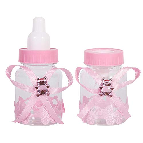 Haofy 50 Pezzi Mini ciucci Caramelle Bottiglie di Cioccolato Confezione Regalo per Baby Shower Decorazioni per bomboniere(Rosa)