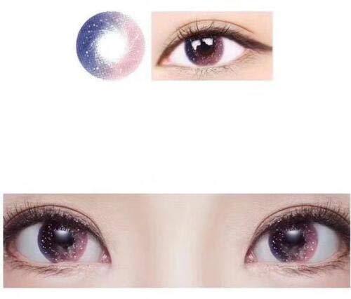 SSB-YXYJ, Rosa, Grau, Lila Kontakt Farbige Kontaktlinsen Kontaktlinsen Korea Lentilles mit Fall, 0,00 Dioptrie (Color : Pink)