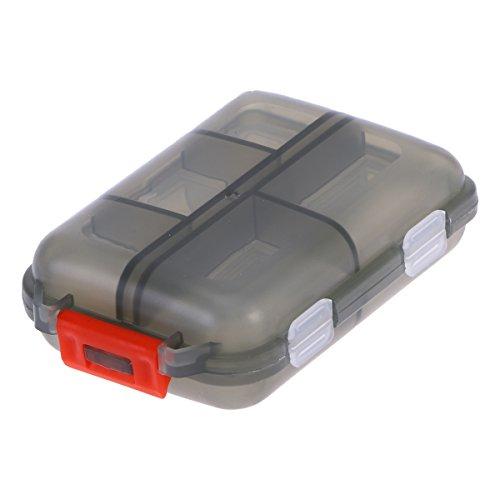 ROSENICE Pillendose Reise-Portable-Pillen-Fall im Freien mit 10 Fächern Double Layer Drug Seal Containerhalter (Grau)