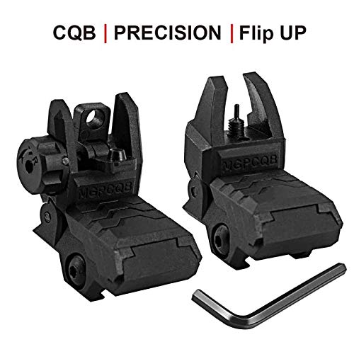 Bugleman Flip Up Iron Sight Low Profile Front Rear Sight Compatible for Picatinny Rail Black Pop up Backup Sights