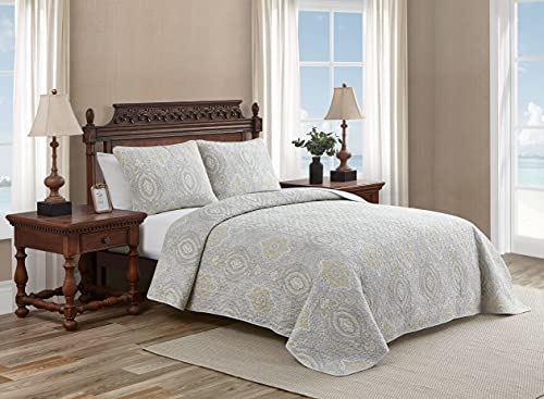 Tommy Bahama Home Turtle Cove Collection Quilt Set-100% Cotton, Reversible Bedding with Matching Sham(s), Pre-Washed for Added Softness, King, Grey