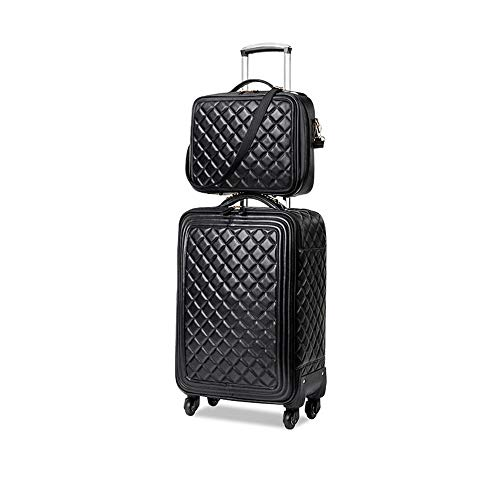 LRHD Portable 4-wheel Carry-on Luggage, PU Leather+polyester Luggage With Aluminum Alloy Tie Rod, 16-24 Inch Waterproof Luggage Suitable for Many Airlines, Business Trip Gifts, Black