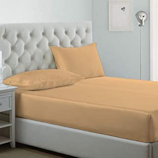 iBed home Luxury Fitted sheet 2Pcs Set, Cotton 300 Thread Count,Single Size,