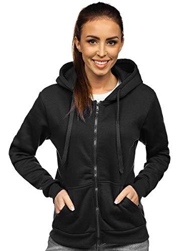 BOLF Damen Kapuzenpullover Hoodie Sweatshirt mit Kapuze Kapuzenjacke mit Reißverschluss Outdoor Fitness Training Jogging Sport Style J.Style W03 Schwarz S [A1A]