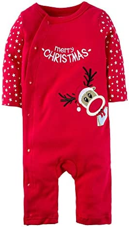 BIG ELEPHANT Baby Boys 1 Piece Elk Christmas Snap Up Long Sleeve Romper Pajama Red M04 product image