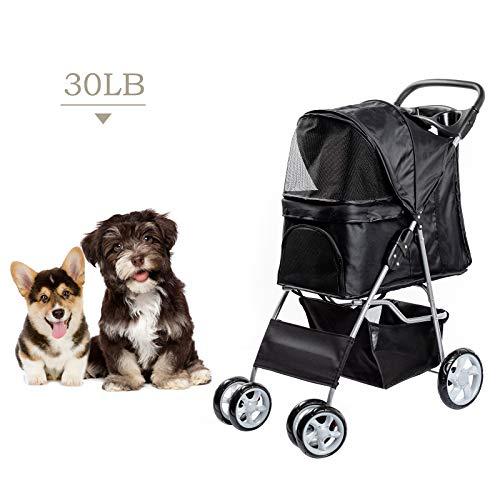 Dawoo Rädern Haustier Trolley Für Katzen/Hunde, Einfach Zu Falten Hundewagen, Mit Ablagekorb Und Getränkehalter (Schwarz)
