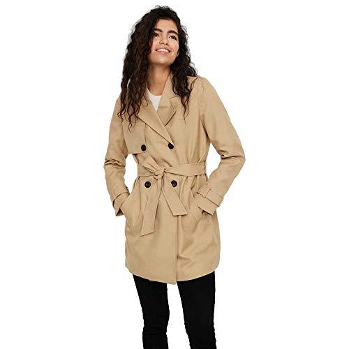 Vero Moda VMCELESTE 3/4 Trenchcoat Noos Gabardina, Travertine, L para Mujer