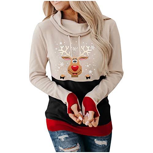 Binggong Weihnachtspullover Damen Rollkragen Xmas Print Sweatershirt Frauen Festlicher Reindeer Druck Langarm Longpullover Casual Oberteile Kapuzenpullover