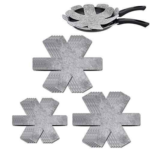 ETHEL Protezioni per Pentole e Padelle, 15 Pezzi Separatori Pentole Proteggi Protezioni AntiGraffio pentole con 3 Dimensioni, per Pentole e Padelle Antiaderenti Ciotole Ceramica (Grigio)