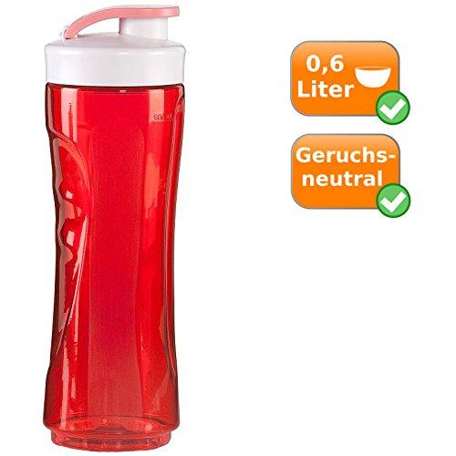 600ml Trinkflasche, große Ersatzflasche für Smoothies + Smoothiemaker nutbzbar, verschließbarer Ersatzbehälter (rot)