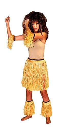 Hawaii Kostüm Set Natur 5-tlg. - Bastrock und Stulpen für Südsee Jamaika Beachparty Festival