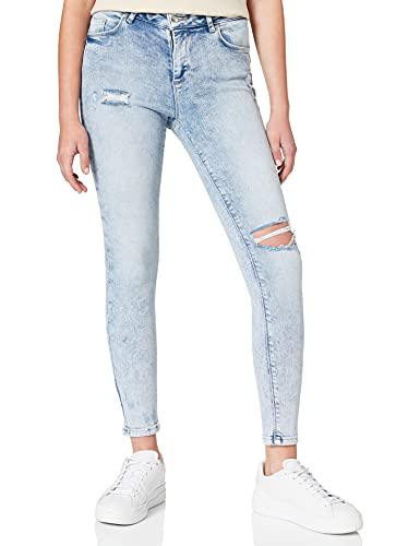 Only ONLHUSH Life Mid SK ANK Destroy BAY701 Jeans, Light Blue Denim, XS/34 Femme