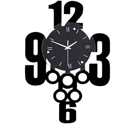 Stella Fella Reloj de Pared silencioso Moderno Gigante de Madera for Sala de Estar, Modelado de Nudos Chinos, sin tictac, for el hogar, Corredor, Negro