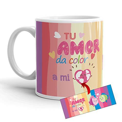Kembilove Taza de café para Pareja de Enamorados - Taza Tu Amor da Color a mi corazón Regalo Original para Novios y Novias San Valentín - Taza de Desayuno para Regalar Enamorados, Cumpleaños