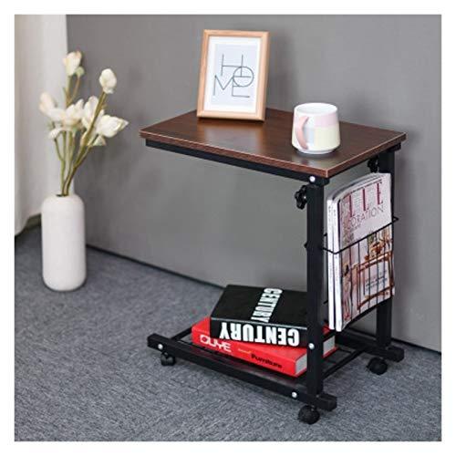 ALBBMY Mesa auxiliar móvil Mesa de trabajo Soporte de almacenamiento Mesas auxiliares multiusos, mesa auxiliar Muebles mesa de centro moderna Mesas de centro ajustables (color rojo nogal color)