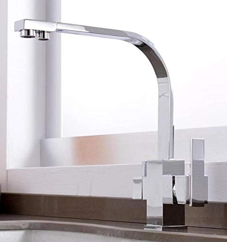 Wasserhahn Waschbecken Wasserhahn Küchenhahn Messing Zwei Loch Quadratische Küche Bar Trinkwasser Mixer Kran